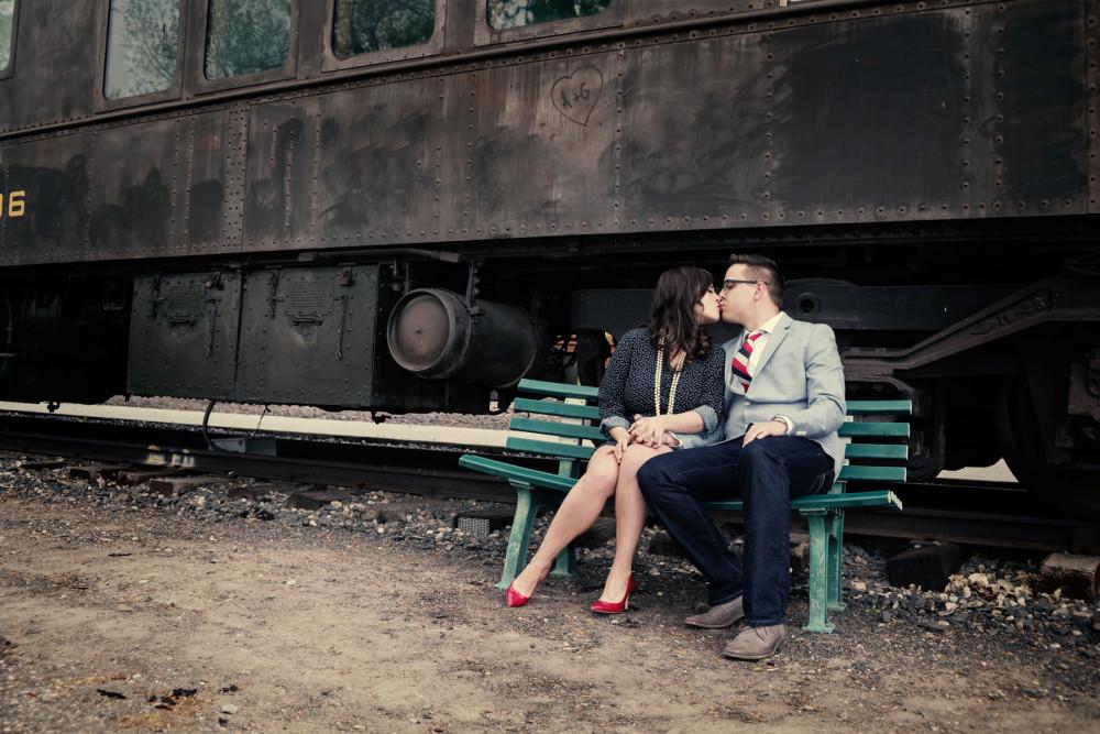 train vintage denver wedding engagement