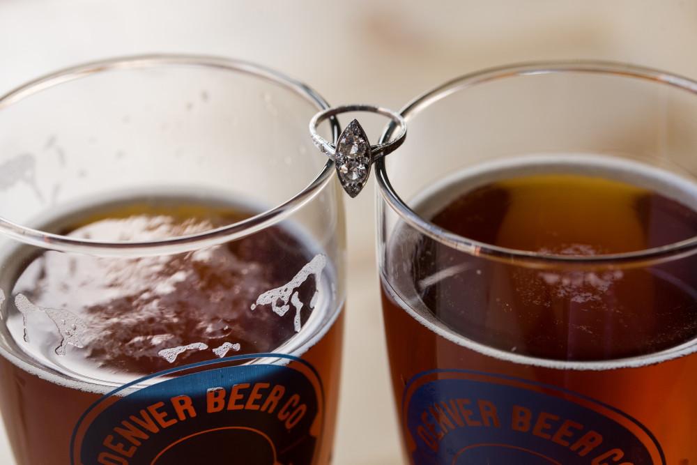 denver brewery engagement photos