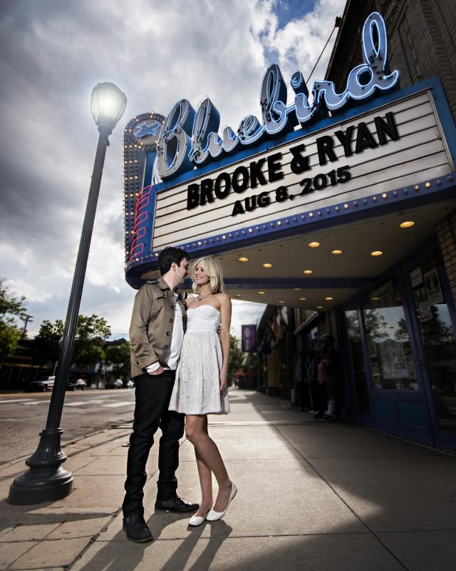 denver engagement photos bluebird theater