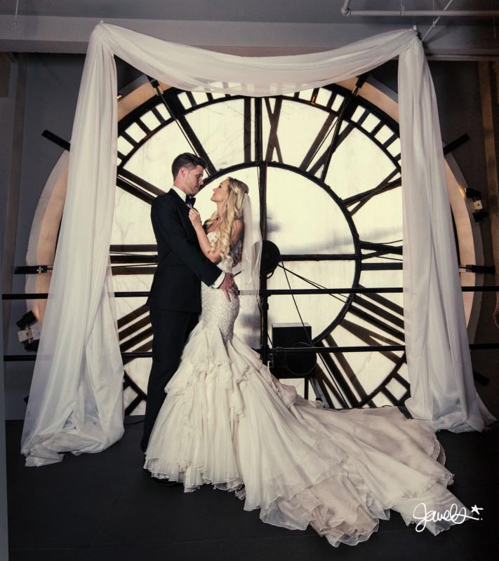 clock tower wedding photo