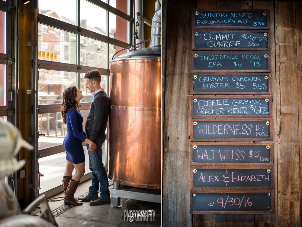 denver brewery engagement photography