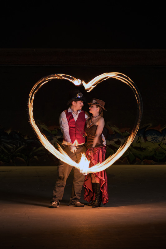 denver fire engagement steampunk photographer