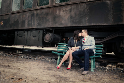 train vintage denver wedding engagement