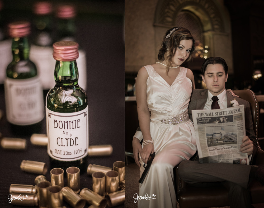 bonnie & clyde wedding whiskey vintage
