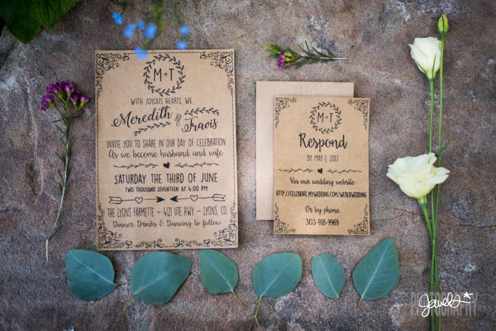 rustic colorado wedding invitations prive events planner