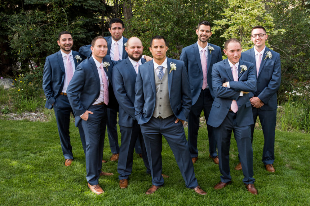 colorado wedding groomsmen attire navy pink