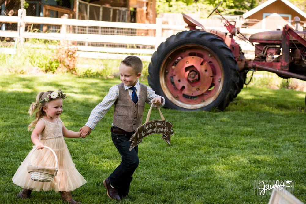 rocky mountain farm wedding kids