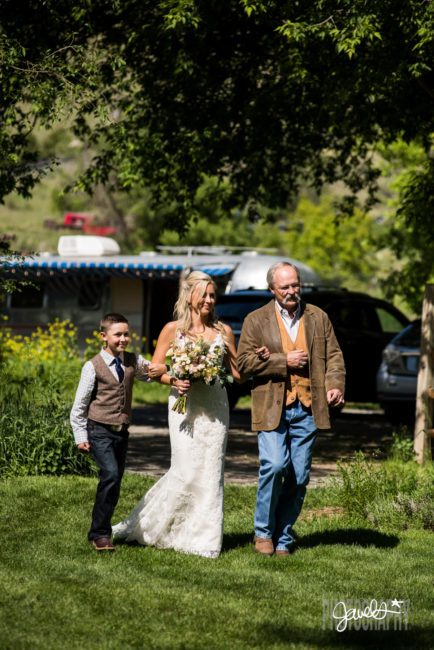 rocky mountain farm wedding ceremony