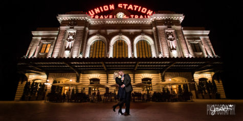 denver union station engagement at night