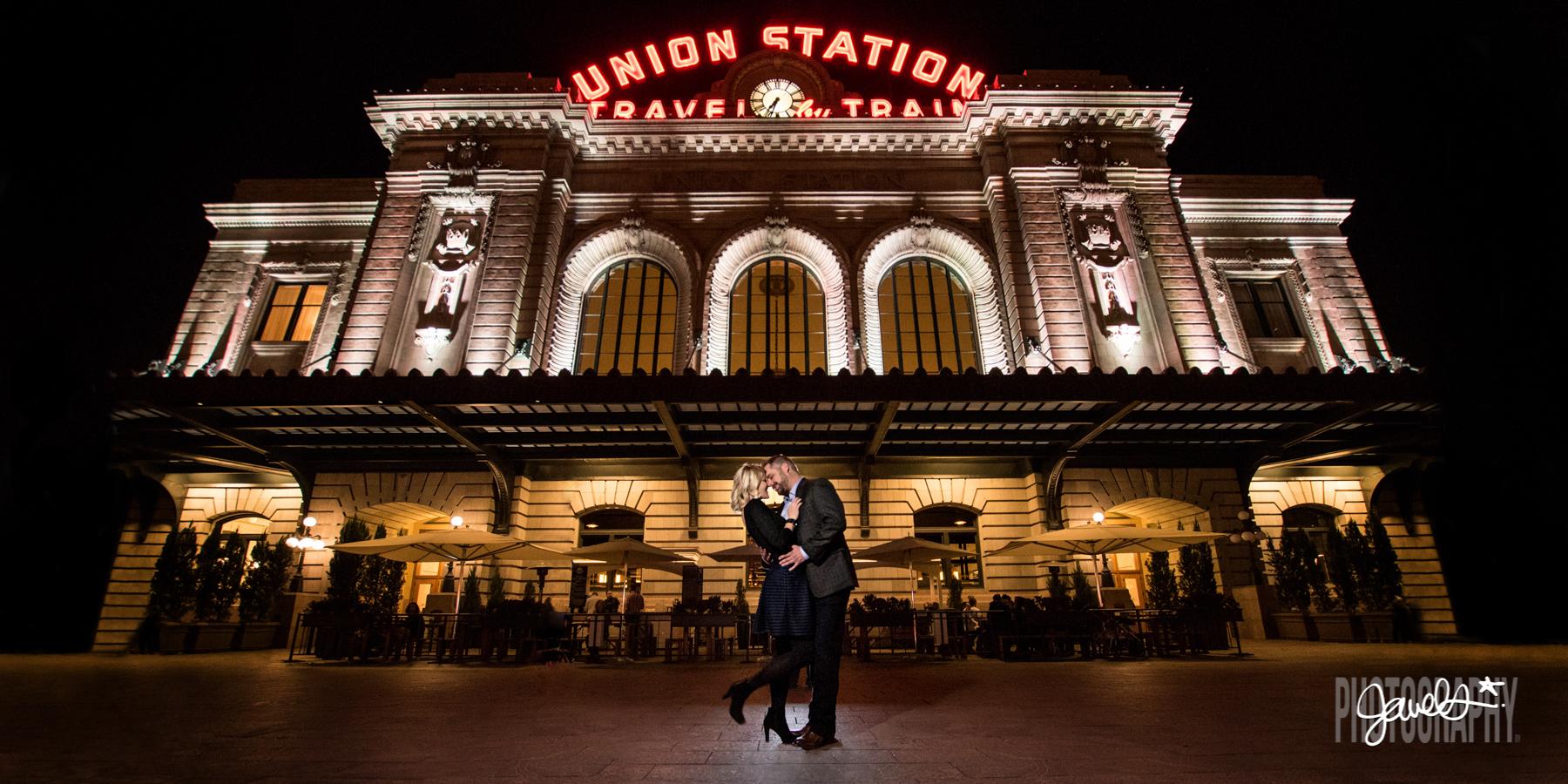 denver union station engagement at night
