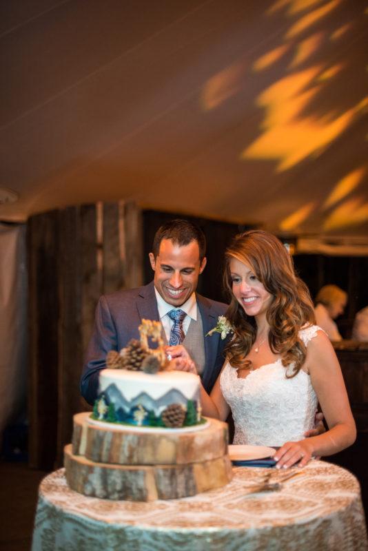 colorado wedding cake bride groom
