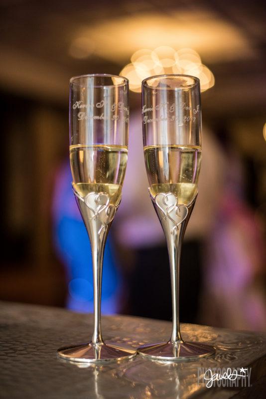 colorado wedding champagne flutes
