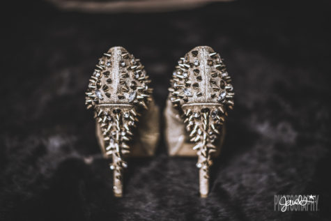 rockstar wedding details black and gold heels