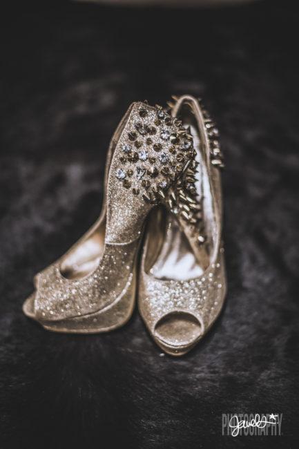badass gold heels black wedding style