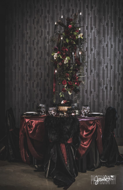 black and gold maroon wedding decor rentals butler rents