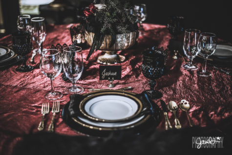 black gold maroon wedding details table scape rentals butler rents