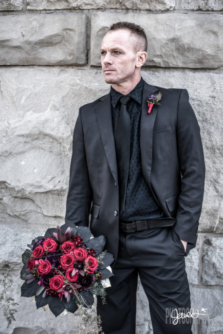 gothic groom black wedding stems florist