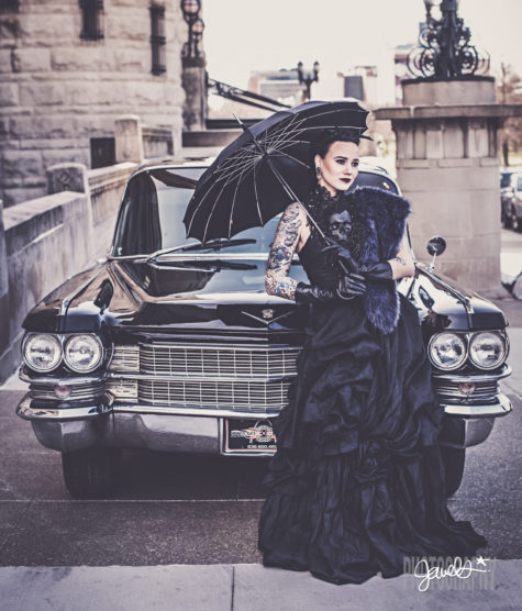 black wedding dress cadillac