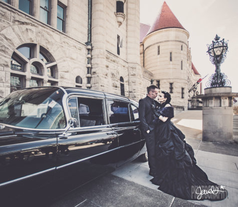 black wedding dress bride and groom vintage cadillac st louis motoexotica
