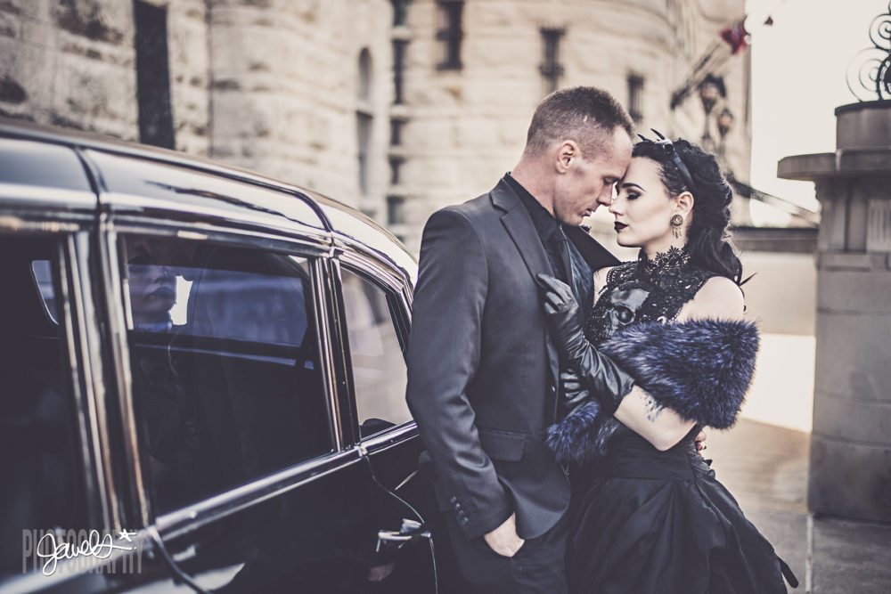 gothic bride and groom black and gold wedding