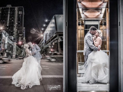 dramatic downtown denver wedding photographer