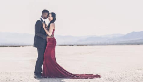 dramatic las vegas engagement in the desert dry lake bed
