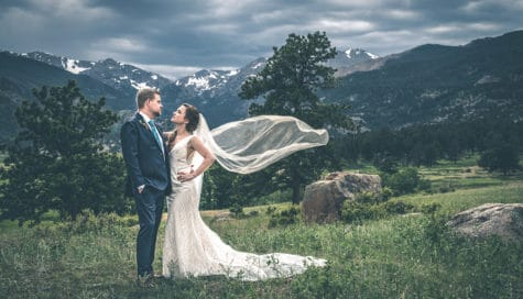 rocky mountain wedding bride and groom colorado