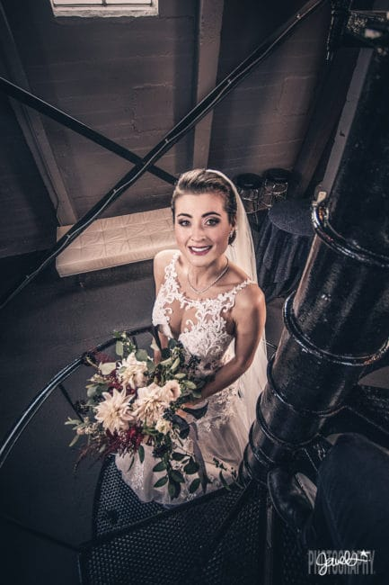 clocktower wedding denver bride