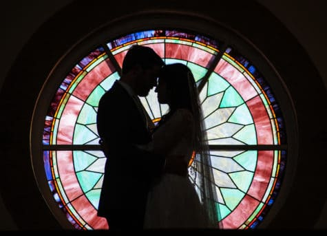 denver catholic stained glass silhouette wedding