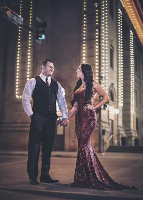 downtown glam engagement session denver colorado at night