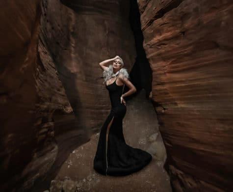 high fashion avant guard portrait slot canyon